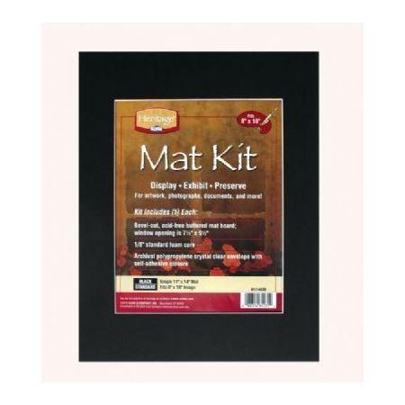 Mat Board Kit 8x10 Opening Black Du All Art Amp Drafting