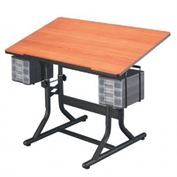 Alvin Craftmaster Table, Black Base & Cherry Woodgrain Top