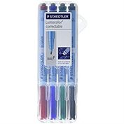 Lumocolor Correctable Fine Point Pen Dry Erase Set of 4 in easel case