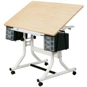 Alvin Craftmaster Drawing & Hobby Station, White Base and Maple Woodgrain Top