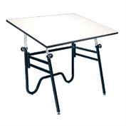 Alvin Opal Table, Black Base White Top 31 x 42
